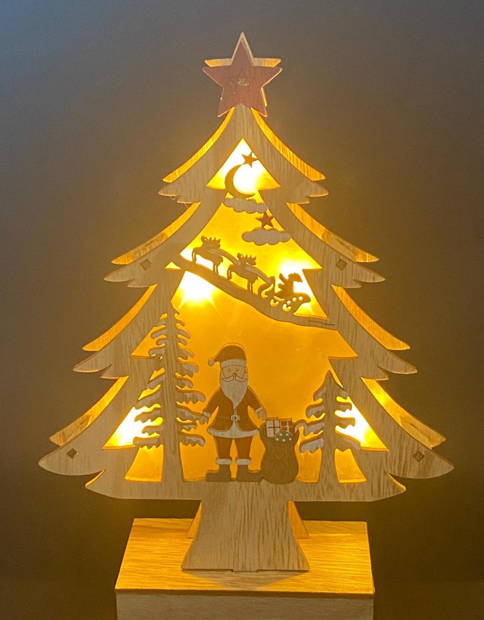 Kerstboom van hout met LED