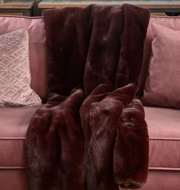 Riviera Maison Faux Fur Throw Burgundy 170x130