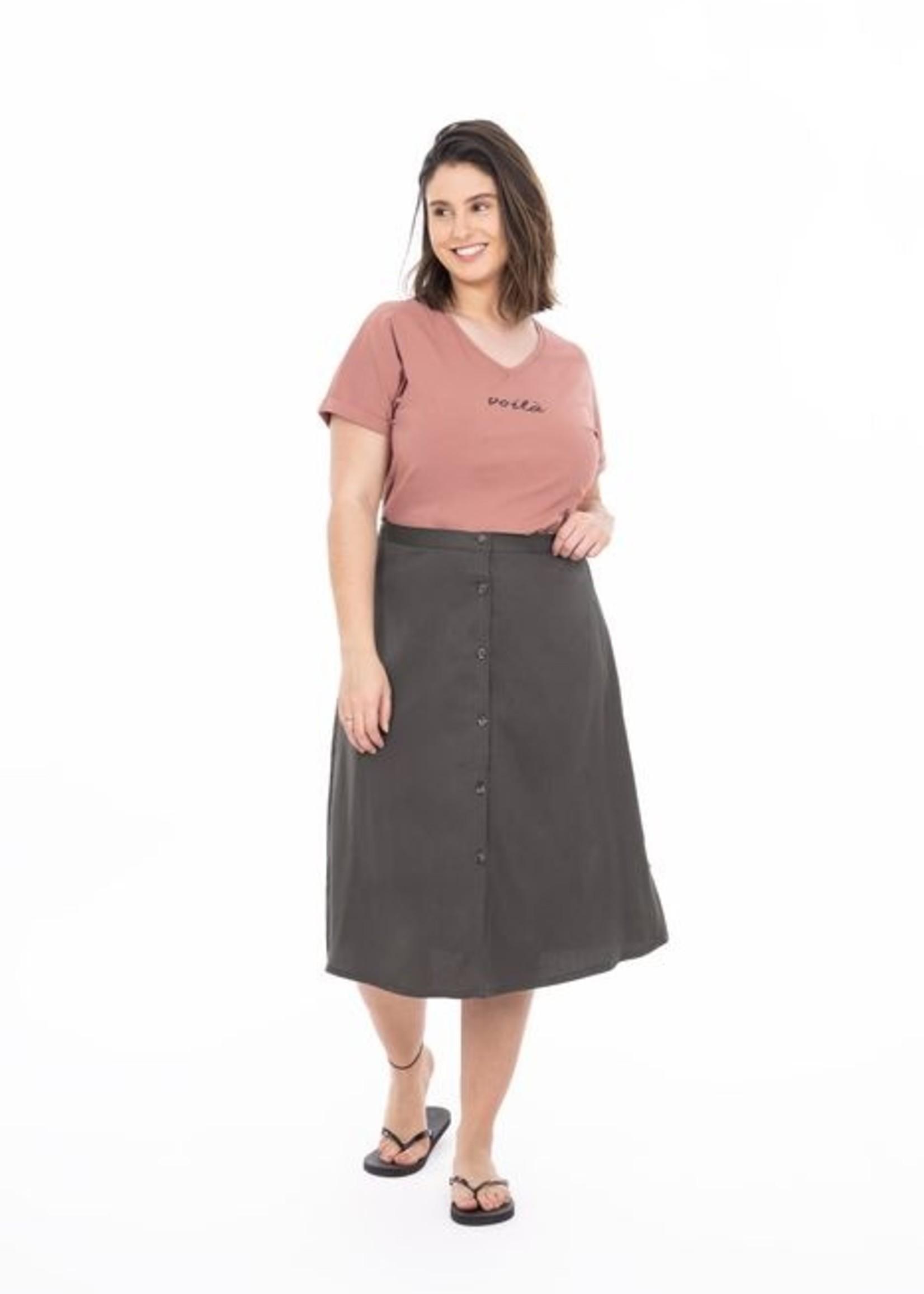 Zusss basic t-shirt met V-hals voila rouge XL