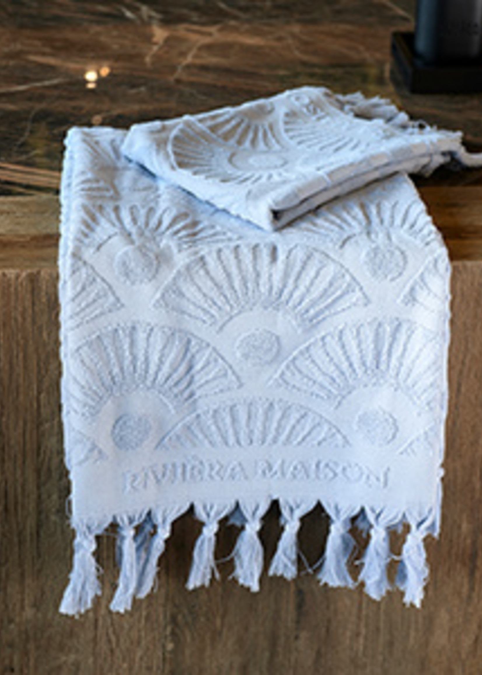 Riviera Maison RM Wave Towel light blue 100x50