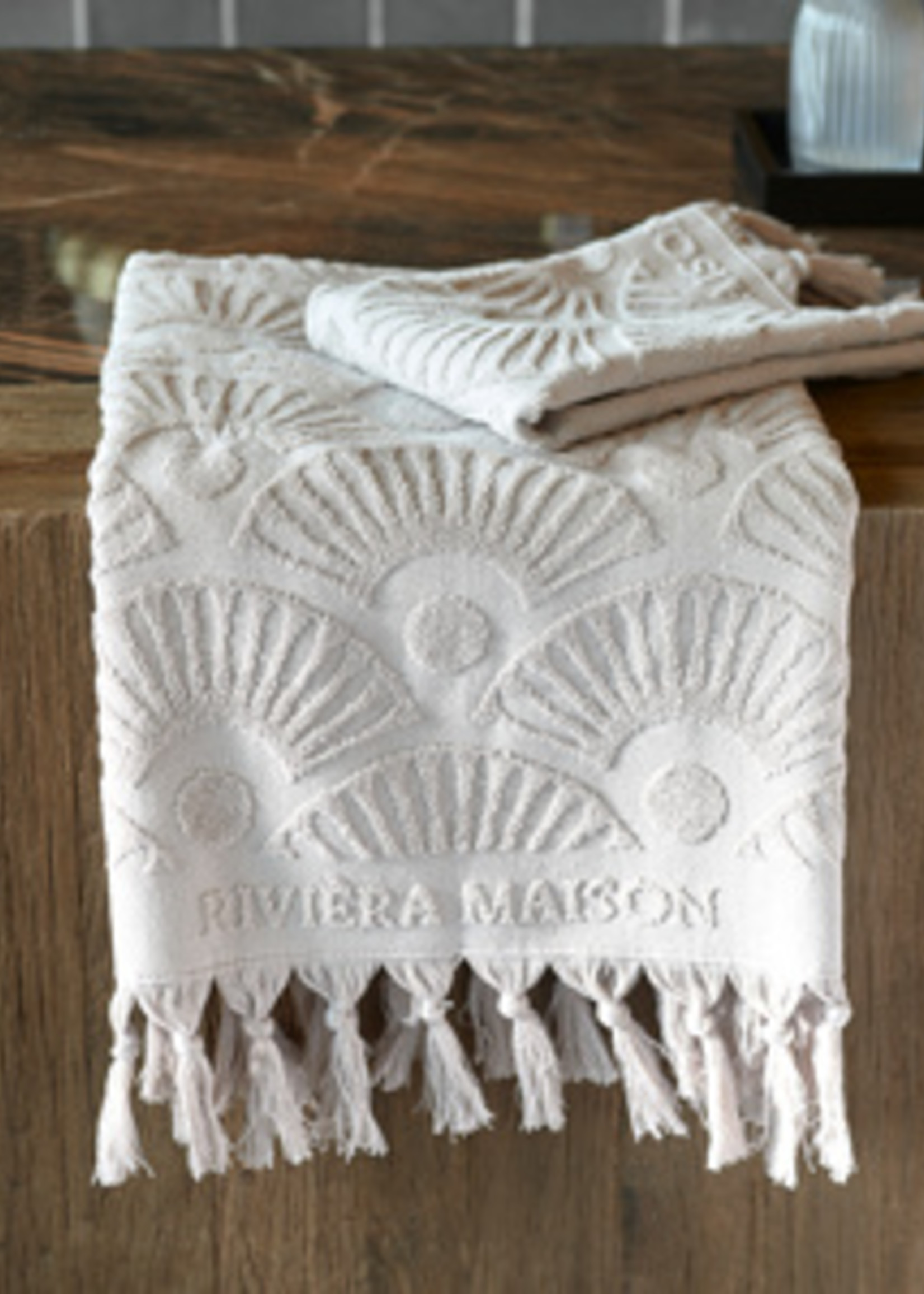 Riviera Maison RM Wave Towel sand 100x50