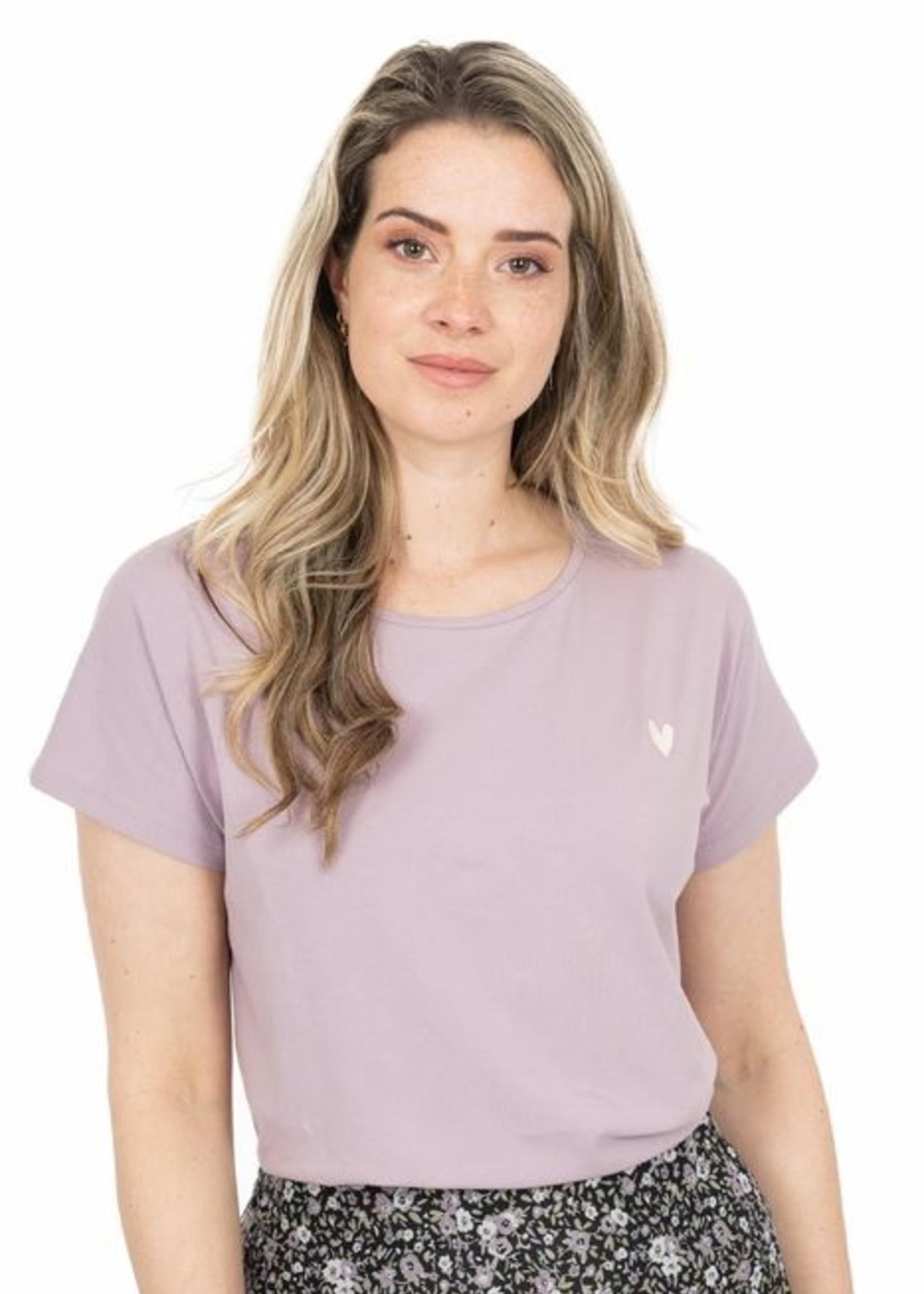 Zusss Basic T-shirt met ronde Hals en hartje, Lila