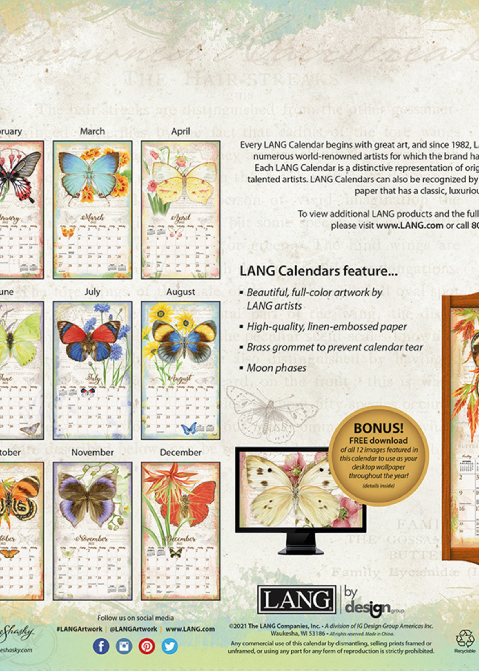 Butterflies Calendar 2022