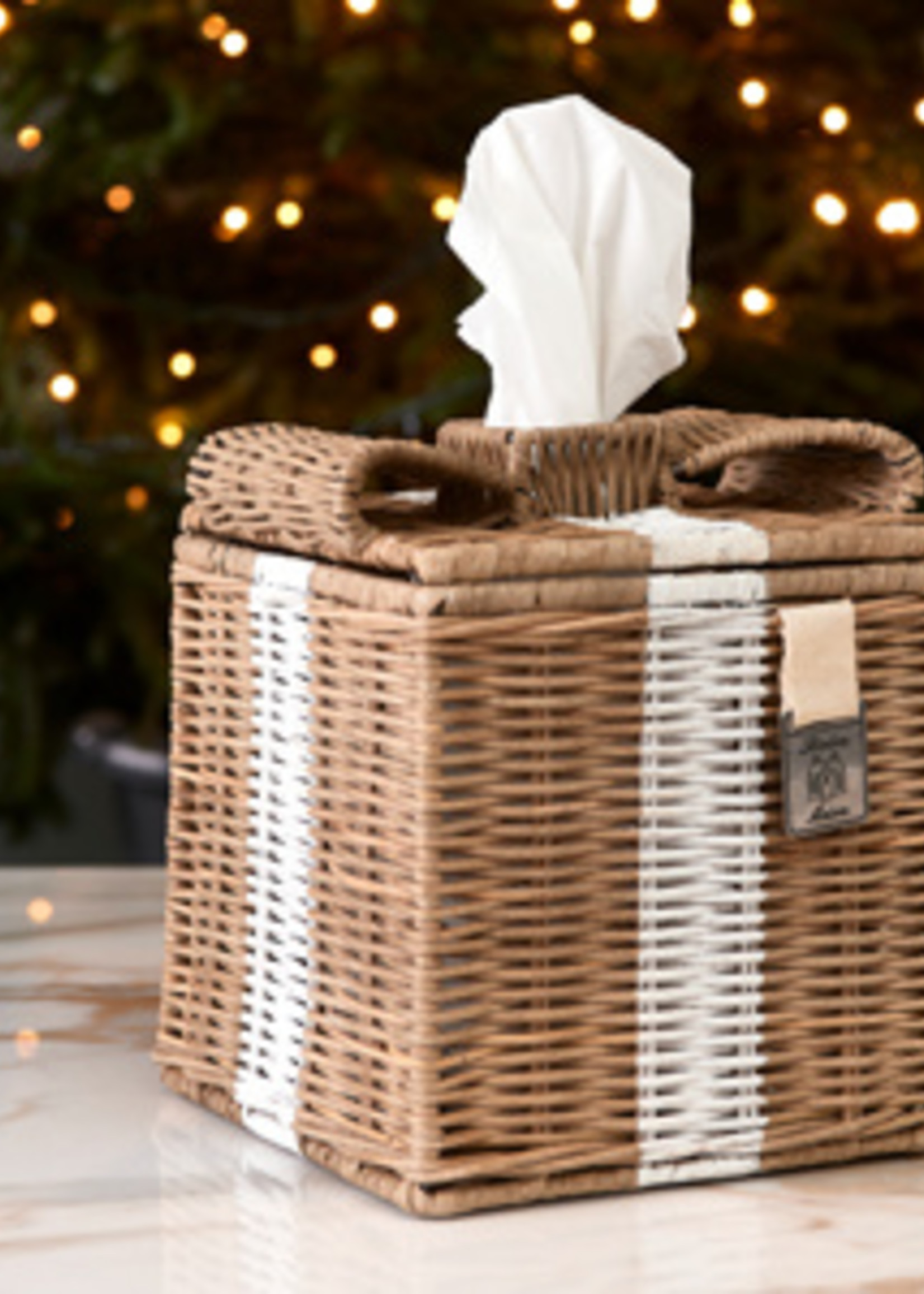 Riviera Maison Rustic Rattan Lovely Bow Tissue Box