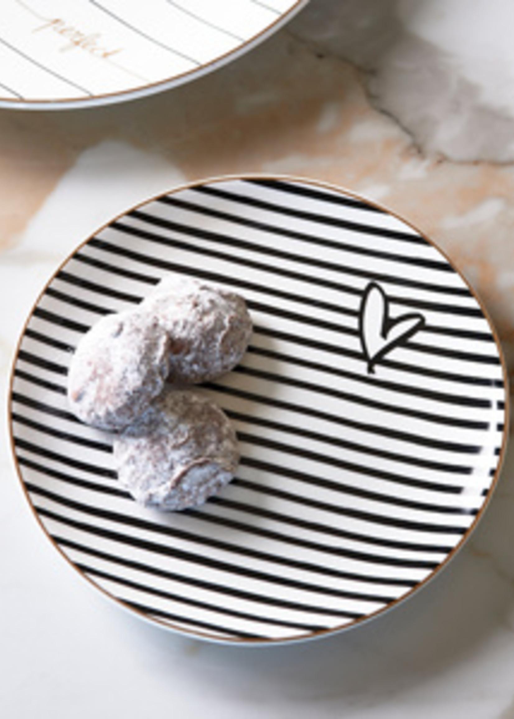 Riviera Maison Dots & Stripes Heart Cake Plate