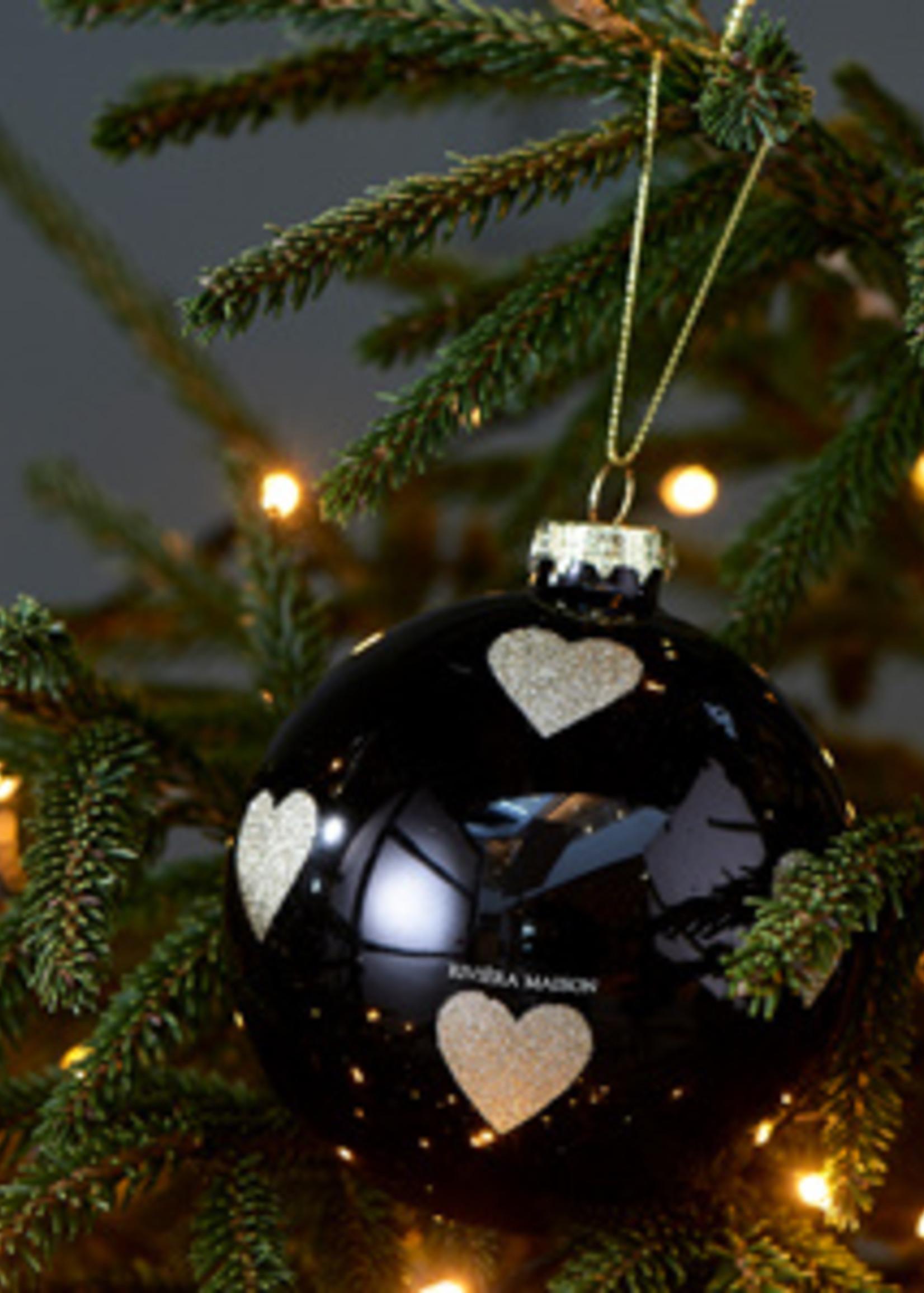 Riviera Maison Lovely Hearts Ornament black Dia 10