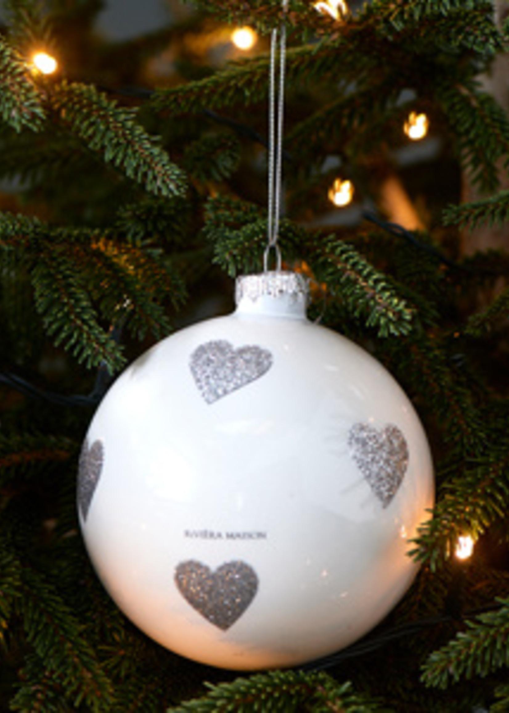 Riviera Maison Lovely Hearts Ornament white Dia 10
