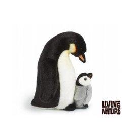 Living Nature Pinguin Knuffel, met kuiken
