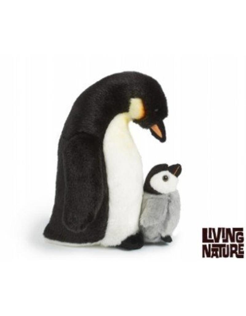 Living Nature Pinguin Knuffel met kuiken, Living Nature