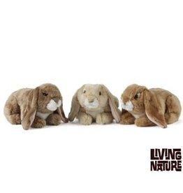 Living Nature Knuffel Konijn Hangoor Bruin, 3 stuks