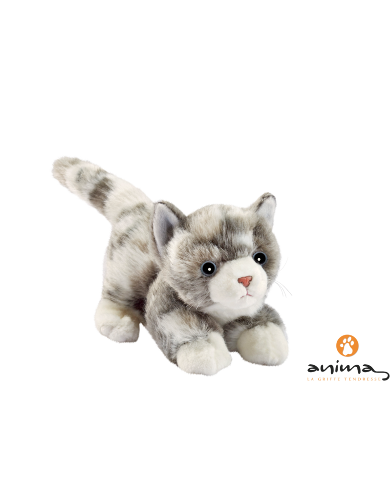 Anima Spelende Pluche Kat Grijs, 20 cm, Anima