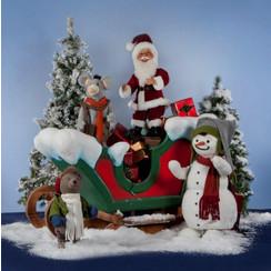 Bewegende Kerstman dansend met vrienden