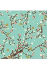 papier coton, floral cerise