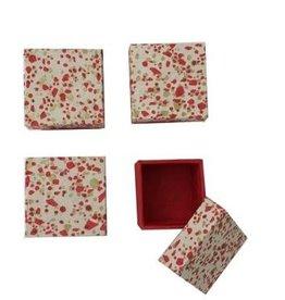 NE414 Set 4 doosjes goud/rood print