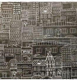 NE857 Lokta papier met huizenprint