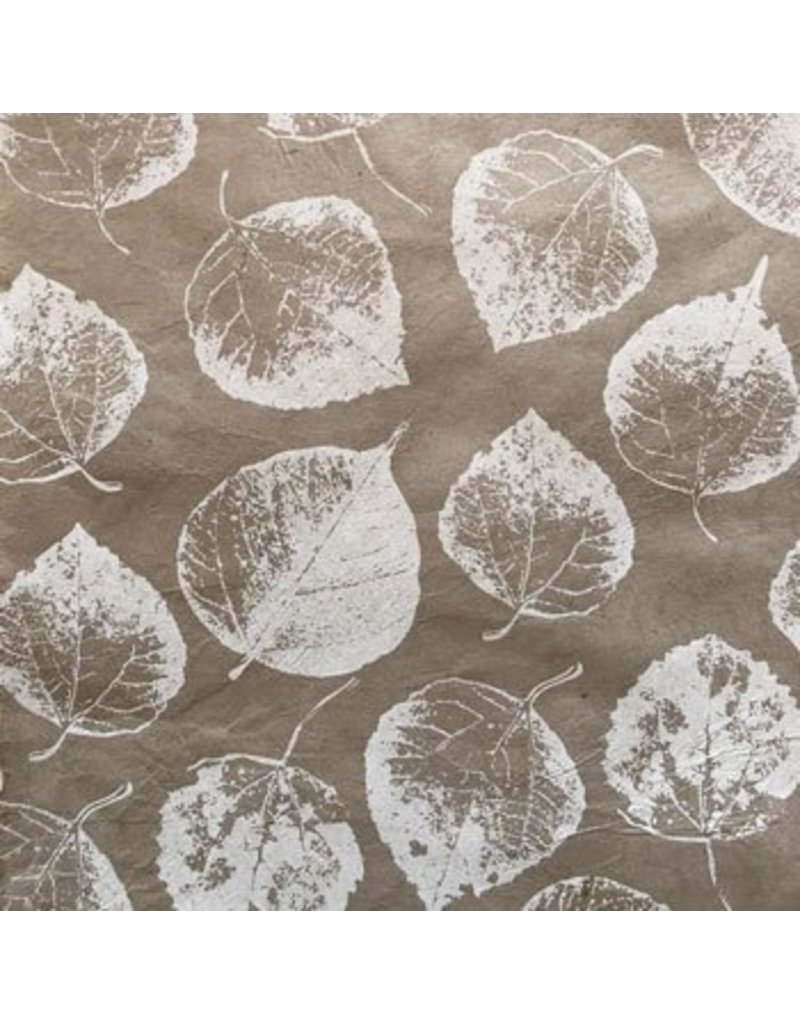 Lokta paper with bodhi leaf print