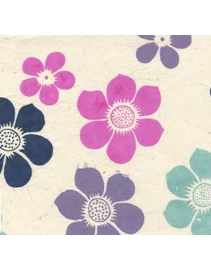 papier lokta fleurs colorees