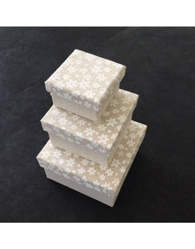 Set 3 doosjes katoen bloemprint