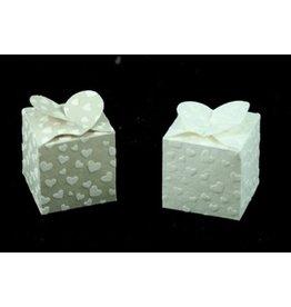TH291 Set 6 Vierkante doosjes relief hartjes