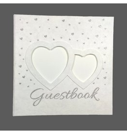 TH182 Gastenboek met zilveren hartjes