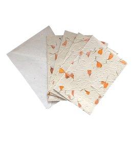 NE438 Set van 4 kaarten/enveloppen met bloemen