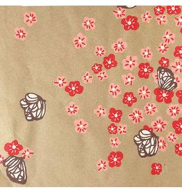 AE131 Baumwoll papier mit Blum/Schmetterling Aufdruck
