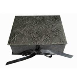 TH316 Keepsake box bark fibres, satin ribbon