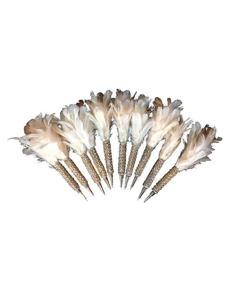 Set 10 pennen met veer en glitters