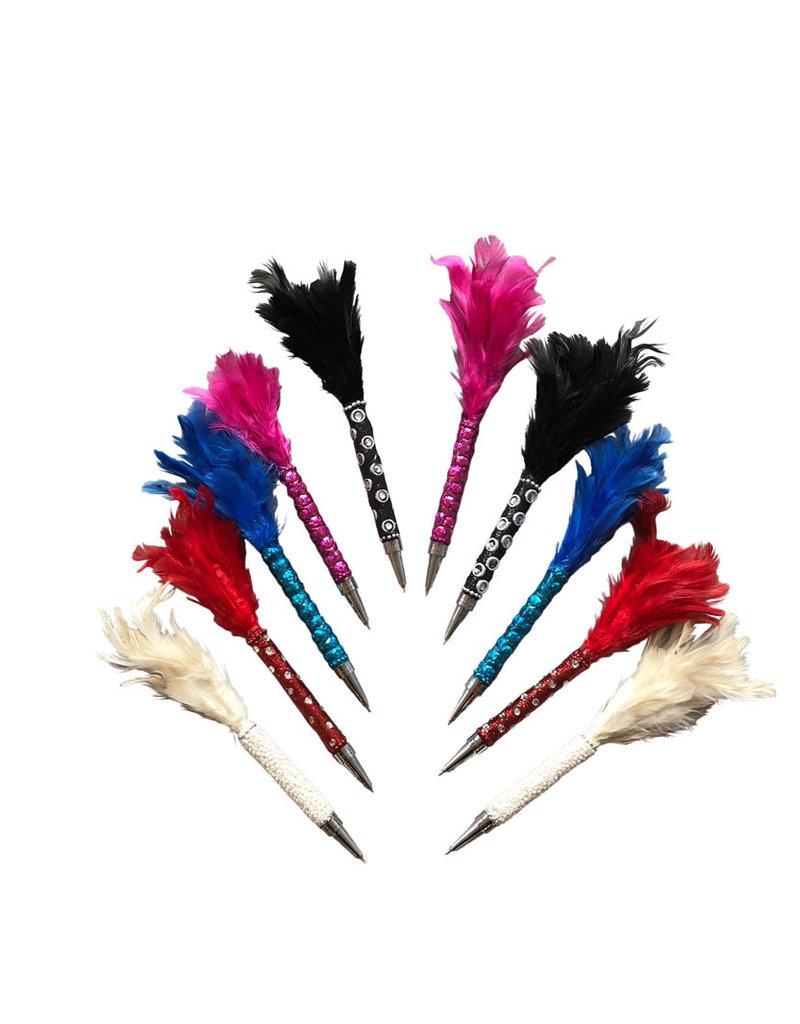Lot de 10 stylos avec plume et paillettes