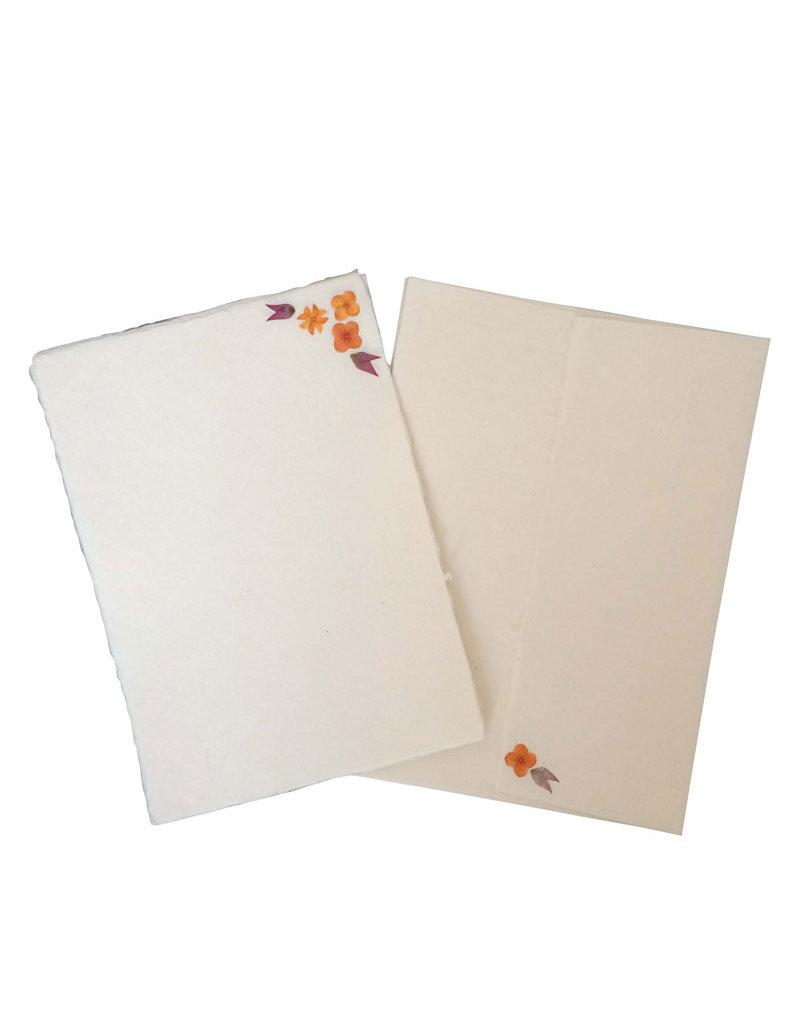 Satz von 5 Karten und 5 Umschlaege mit  Blumen