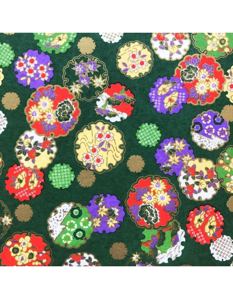 Japanischem Papier mit Blumen/Kreisen