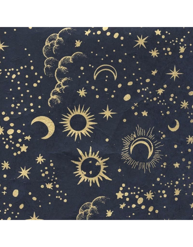Loktapapier maan en sterrenprint
