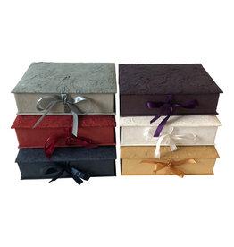 TH313 Keepsake box bark fibres, satin ribbon