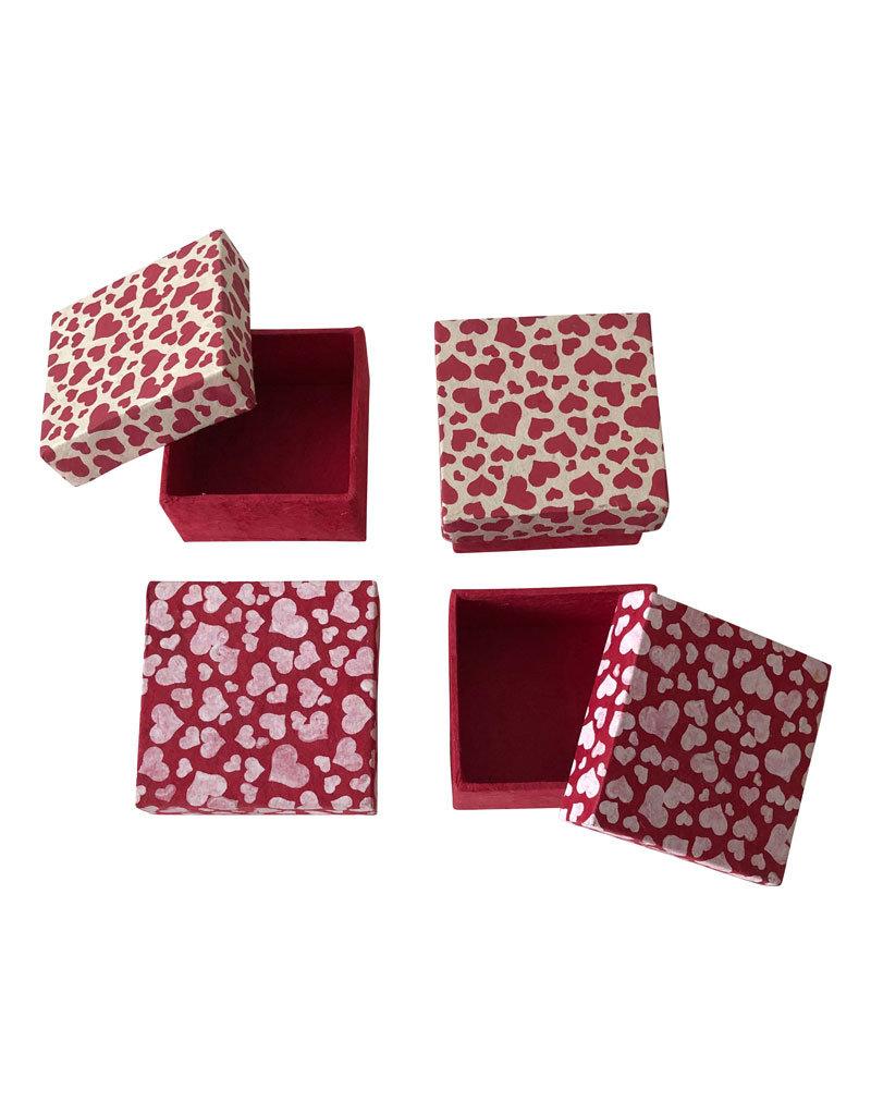 set van 4 doosjes hartjesprint