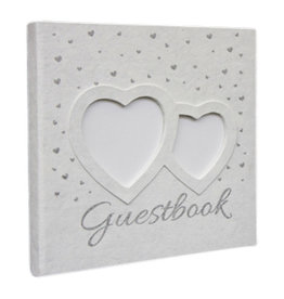 TH182 Guestbook with silver hearts