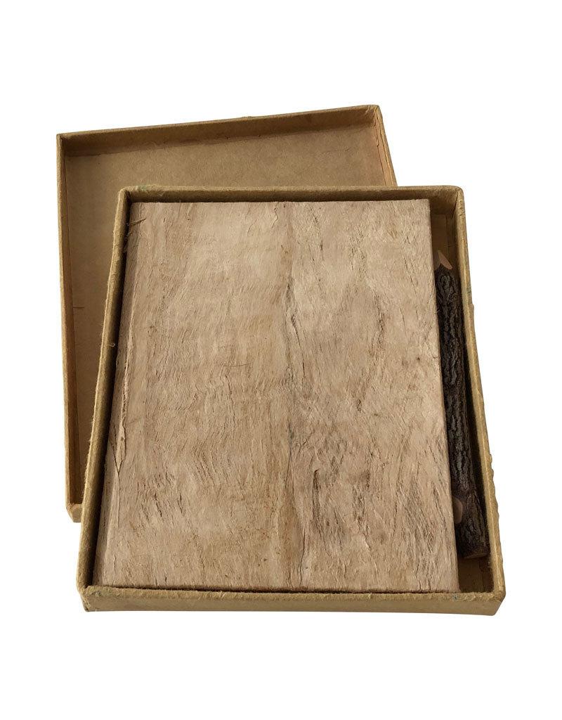 Carnet de notes ecorce, boîte et crayon