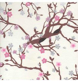 AE132 papier coton, floral cerise