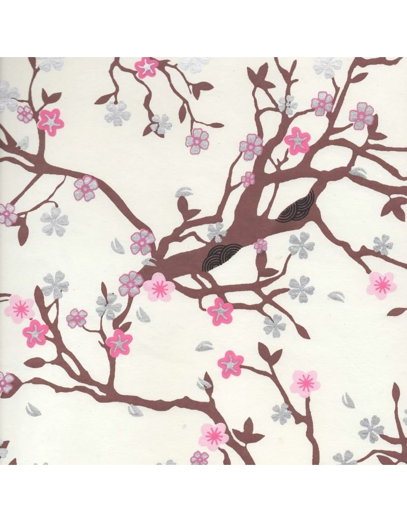 Baumwollpapier, Kirschbluete Aufdruck
