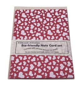 NE518 set 4 kaartjes/hartjesprint