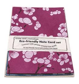 NE516 Ensemble de 4 cartes/fleurs japonais