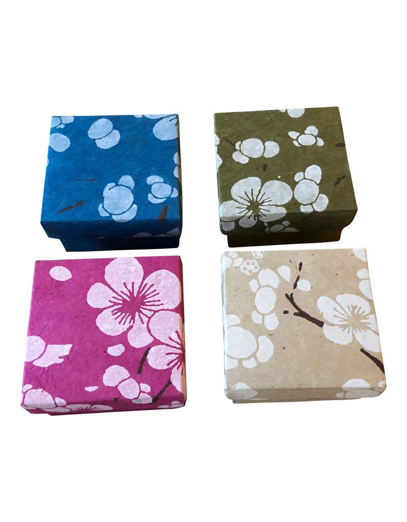 Set van 4 doosjes bloemprint