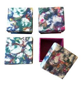 NE425  Ensemble de 4 boites de papier lokta  marmor
