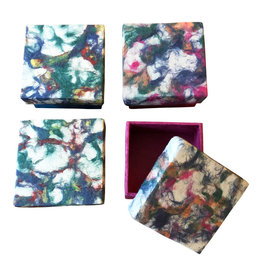 NE425  Satz von 4 Boxen Lokta Papier-marmor