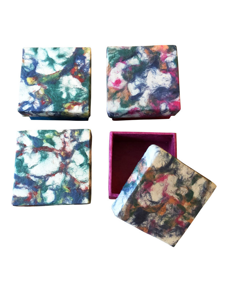 Set of 4 boxes marbled loktapaper