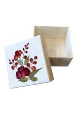 Doosje van mulberry papier met een bloem decoratie