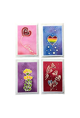 Set of 4 cards/envelopes  batik