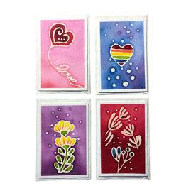 TH133  Satz von 4 Karten/Couverts  batik