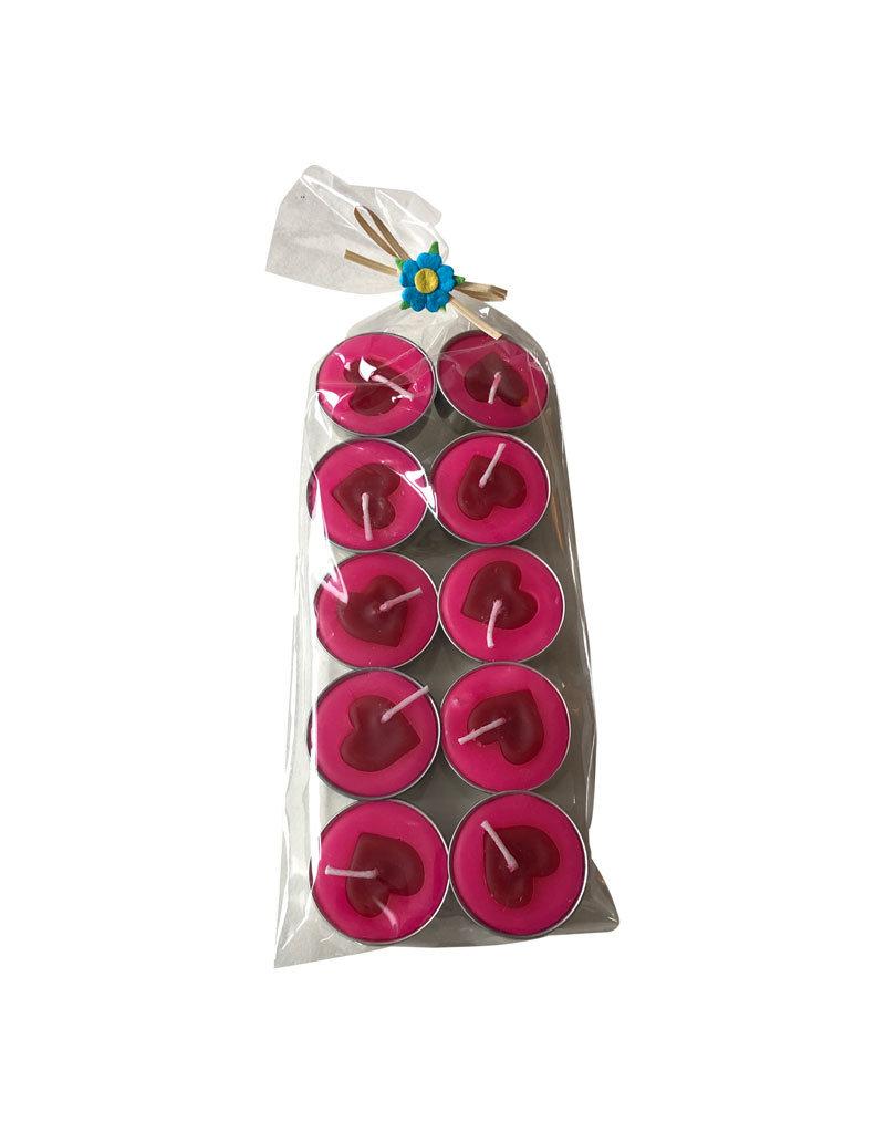 10 Teelichter herz-design
