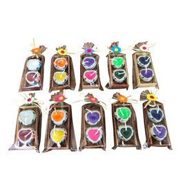. TH051   2 mini candles in a wooden box, 10 pc
