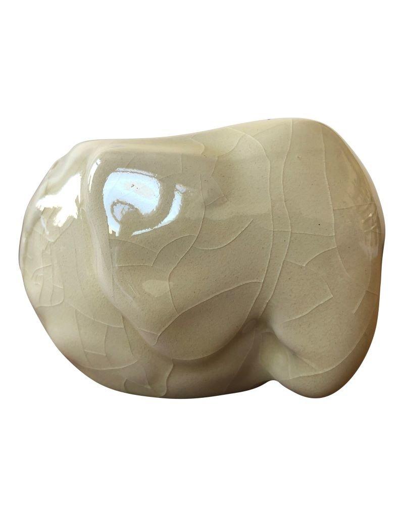. Grand éléphant en porcelaine avec bougie chauffe-plat